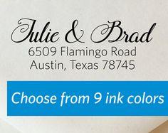 Custom Return Address Stamp // Flamingo Road by ladybugnotes