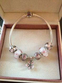 Cherry Blossom Pandora Bracelet - so, so feminine! Love this one in my fav colour PINK!