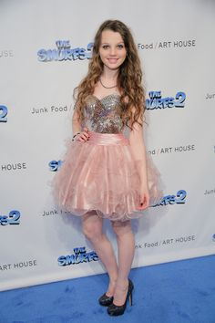 Stefania Owen of The Carrie Diaries on the blue carpet @ Le Look Smurfette NYFW 2013