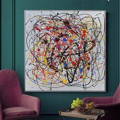 Canvas Abstract Wall Art / Modern Art / Oversize Decor Wall | Etsy Large Canvas Art, Abstract Canvas Art, Oil Painting Abstract, Painting Art, Jackson Pollock, Art Sur Toile, Grand Art, Action Painting, Yellow Art