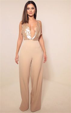 Darcey Rose Gold Sequin Plunge Cross Back Jumpsuit 2606103ab198