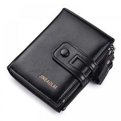 Tri-bifold Wallet Purse PU Leather Men's Wallet Hasp Design Small Mens Wallets With Zipper Coin Pocket Card Holder Luxury Wallet Card Wallet, Purse Wallet, Men Wallet, Man Purse, Mode Blog, Branded Wallets, Small Wallet, Pocket Cards, Wallets For Women