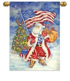 "Garden Size Flag, 13""x18"", Patriotic Santa by Ashley Gifts. $14.99"
