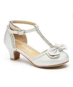 Silver T-Strap Bow Dressy Shoe - Girls