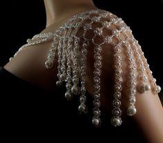 Silver Czech glass + pearl beaded fringe shoulder necklace. pearl fringe shoulder necklace. bridal pearl fringe shoulder necklace