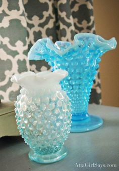 Love vintage hobnail glass. These are two of my prized vases. www.attagirlsays.com