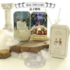 Dollhouse-Miniature-DIY-Box-Theatre-Kit-w-Light-Winter-Snow-Dream-Warm-Home-NIB