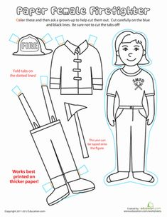 Play dress-up with our first grade paper dolls worksheets. Get a firefighter in gear or dress kids from around the world with our printable paper dolls. Community Workers, Community Helpers, Fire Safety Week, People Who Help Us, Helping People, Fire Prevention Week, Female Firefighter, Firefighter Career, 1st Grade Worksheets