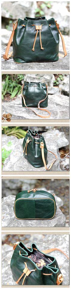LISABAG--Vintage Genuine Leather Bucket Bag Shoulder Bag Women's Fashion Bag AK05