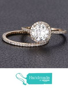 Round Moissanite Engagement Ring Bridal Set Pave Diamond Wedding 14K Rose Gold 6.5mm from the Lord of Gem Rings…