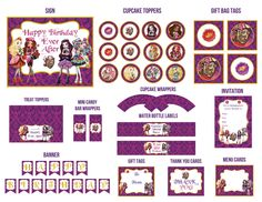 Ever After High Birthday Party Printables kit - Invitations Cupcake Toppers & Wrappers Banner Candy Wrappers Water Bottle Labels Tags.