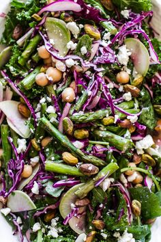 perfect for Easter: Spring Confetti Salad with kale, pistachios, feta & asparagus - gorgeous and delicious edibleperspective.com