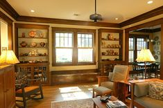 Built in Bookcase with Window Bench - Custom Arts & Crafts Millwork by El Dorado Woodworks - Heussner Residence Craftsman Style Exterior, Craftsman Houses, Natural Wood Trim, Craftsman Dining Room, Built In Bookcase, Bookshelves, Second Empire, Built Ins, Home Remodeling