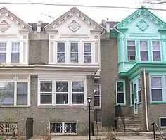 Multi-unit rowhouse, the most common style of rowhouse in West Philadelphia.