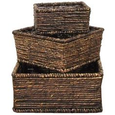 "This set of three Dark Brown Square Maize Baskets would make a lovely accent in a room while adding extra storage. Perfect for displaying silk flowers and greenery, decorative ornament balls and more.    	Dimensions:    	Small:    	  		Length: 6 1/2""  	  		Width: 6 1/2""  	  		Height: 3 1/4""      	Medium:    	  		Length: 8""  	  		Width: 8""  	  		Height: 4""      	Large:     	  		Length: 9 1/2""  	  		Width: 9 1/2""  	  		Height: 4 3/8""     ..."