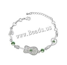 Austrian Crystal Bracelet, Zinc Alloy, with Austrian Crystal, with 4cm extender chain, Guitar, platinum plated, olive, 0.55cm,china wholesale jewelry beads