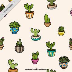 Padrão de diversos cactus Vetor grátis Mais