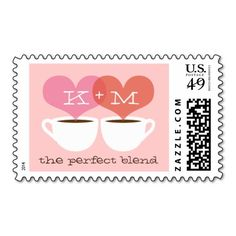 "Coffee Lovers Custom Wedding Postage Stamp Design ""the perfect blend"" with monogram and two hearts"