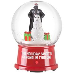 Make your holiday spirit strong with this Star Wars musical snow globe featuring Darth Vader and a Stormtrooper snowman. Tabletop Snow Globe.  Press the button to see the snow swirl and music play.