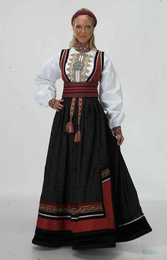 """""""Beltestakk"""" from Øst-Telemark, Telemark, Norway. This bunad have many variations. You have a lot of different choices in this buand and almost no one have the excact same model Norwegian Clothing, Norwegian Fashion, Traditional Fashion, Traditional Dresses, International Clothing, Folk Costume, Costumes, Historical Clothing, Pretty Outfits"""