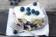 Blueberry Zucchini Snack Cake with Lemon Buttercream…