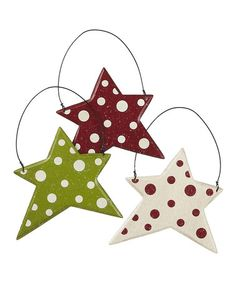 Take a look at this Red & Green Polka Dot Star Ornament Set by Collins on #zulily today!