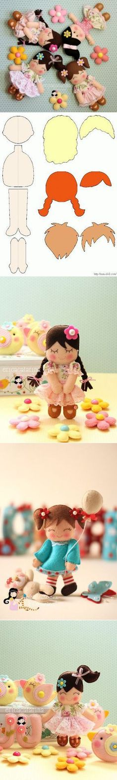 Bonecas de feltro Vu
