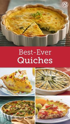 Betty's Best Quiche Recipes You're sure to find something delicious and new to try among these top-rated recipes perfect for spring brunch. And really, what's brunch without a good quiche? Best Quiche Recipes, Egg Recipes, Brunch Recipes, Cooking Recipes, Recipies, Best Quiche Recipe Ever, Cooking Games, Easter Quiche Recipes, Spinach Quiche Recipes