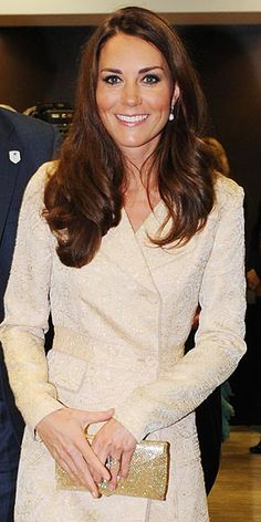 She may be royalty, but even the Duchess of Cambridge needs something to hold her cell, lipstick and Tic Tacs during all those public appearances. This sleek gold number looks great in photos and adds a touch of sheen to an otherwise simple outfit.