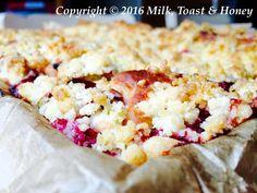 Lazy rhubarb and raspberry streusel cake. Find it on milktoastandhoney.co.uk Streusel Cake, Lazy, Raspberry, Toast, Honey, Milk, Recipes, Food, Recipies