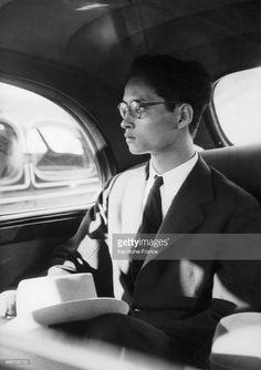 Eighteen year old king Bhumibol Adulyadej of Thailand, aka Rama IX, arrives in Geneva, Switzerland on August 24, 1946 - He will go to Pully where he has a villa.