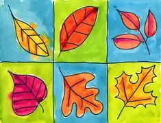 Autumn art, graphic leaves (look at templates of real labeled leaves, explain…