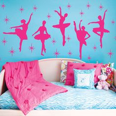 Ballet Dance Ballerinas Stars Custom Vinyl Wall Decals Saying Quote Art Stickers Nursery Kids Girls