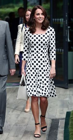 LONDON 03 July - Day 1 of Wimbledon Dolce & Gabbana Polka Dot Charmeuse Dress ($2595) Office 'Nina' Block Heel Sandals ($80) Victoria Beckham 'Quincy' White Leather Tote Bag ($1275) Oscar de la Renta Hammered Gold Plated Faux Pearl Earrings ($190)