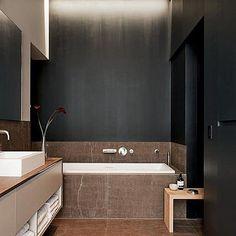 black bathroom, baño en negro