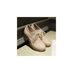 Block Heel Brogue Oxfords ($39) ❤ liked on Polyvore featuring shoes, oxfords, footware, platform oxford shoes, mid heel shoes, oxford shoes, block heel shoes and brogue shoes