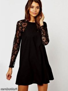Cool black chiffon dress with sleeves 2017-2018