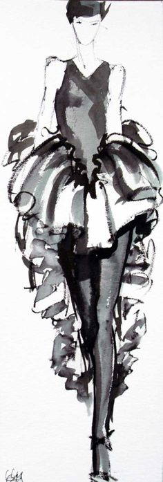 Fashion illustration - stylish ink & wash fashion sketch // Rosa Granados