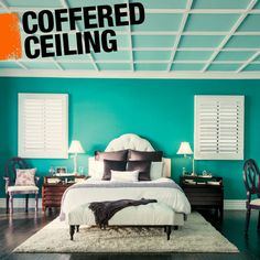 A coffered ceiling is made up of consecutive sunken panels. Panels are most often in a square or rectangular shape, but can be found in an octagonal shape too! Traditionally the coffered structure gave a ceiling more support, but today, coffered ceilings are mostly decorative.