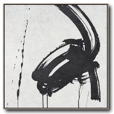 Hand painted black and white painting MN183A, Abstract art, minimalist painting for modern interiors and neutral home. Celine Ziang Art (CZArtDesign.com)
