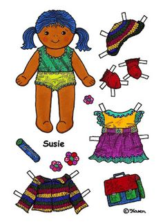 Karen`s Paper Dolls: Susie 1-5 Paper Doll to Print in Colours. Susie 1-5…