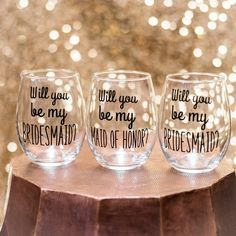 Bridesmaid Proposal. Will you be my Bridesmaid. Sky blue and coral. A custom glass is a great way to ask your friends to take part in your wedding!