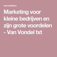 Marketing voor kleine bedrijven en zijn grote voordelen - Van Vondel txt