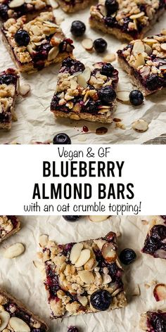 The best Vegan Blueberry Almond Crumble Bars! These easy, vegan, Blueberry Bars, Gluten Free Blueberry, Blueberry Desserts, Vegan Blueberry, Breakfast Bars Healthy, Gluten Free Recipes For Breakfast, Healthy Dessert Recipes, Vegan Desserts, Oat Crumble Topping