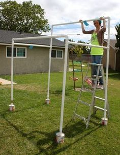 Here is a tutorial on how to create a durable and inexpensive PVC canopy structure- perfect for adding some shade (as well as some style) over your dessert tables this Summer party season! Follow along as I show you step by step how to get er' done!