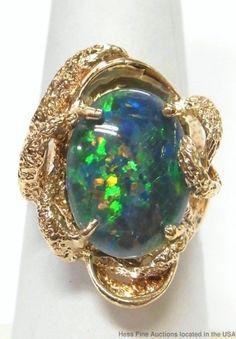 Heavy 14k Gold Colorful Opal Triplet Huge 1970s Freeform Vintage Ring Size 7.5 #fashionRightHandStatement