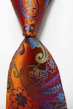 Apparel Accessories New Classic Paisley Floral Royal Blue Navy Blue White Red Yellow Gold Flower Jacquard Woven Silk Mens Tie Necktie