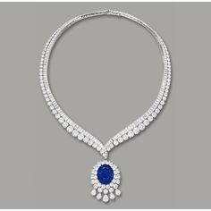 Sapphire and Diamond Necklace, Van Cleef & Arpels   Lot   Sotheby's ❤ liked on Polyvore featuring jewelry, necklaces, wine necklace, sapphire jewelry, van cleef arpels necklace, diamond jewellery and sapphire necklace