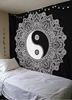 Yin Yang Mandala; Bohemia Black and White Wall tapestry;