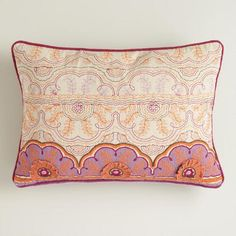 One of my favorite discoveries at WorldMarket.com: Pink and Orange Embroidered Chambray Lumbar Pillow